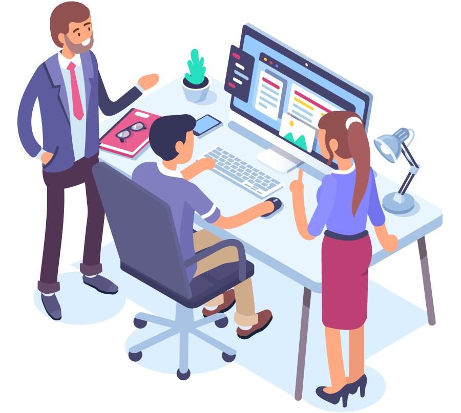 Kontor illustrasjon -  3 personer ved en datamaskin.