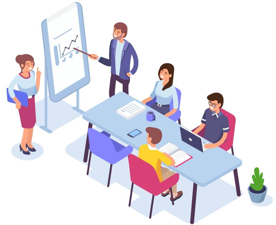 Presentasjon illustrasjon med foredragsholder og flipover
